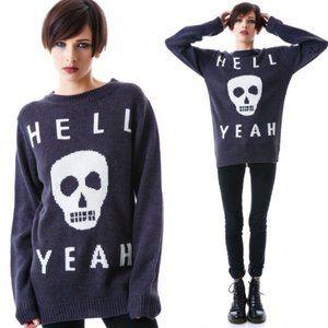 Glamour Kills HELL YEAH skull sweater Medium